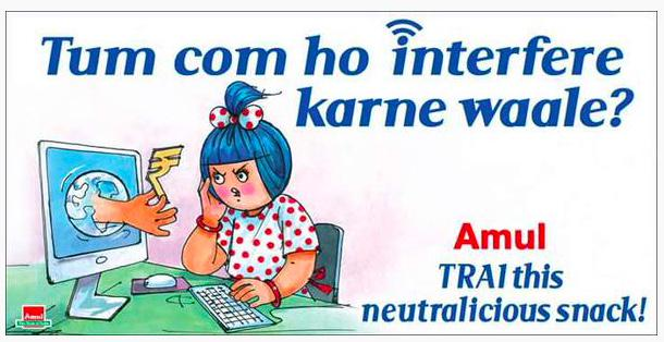 Haha, Amul has finally weighed in on #NetNeutrality. Remember @nixxin and others asking this early on. http://t.co/GdFT0FuVMM