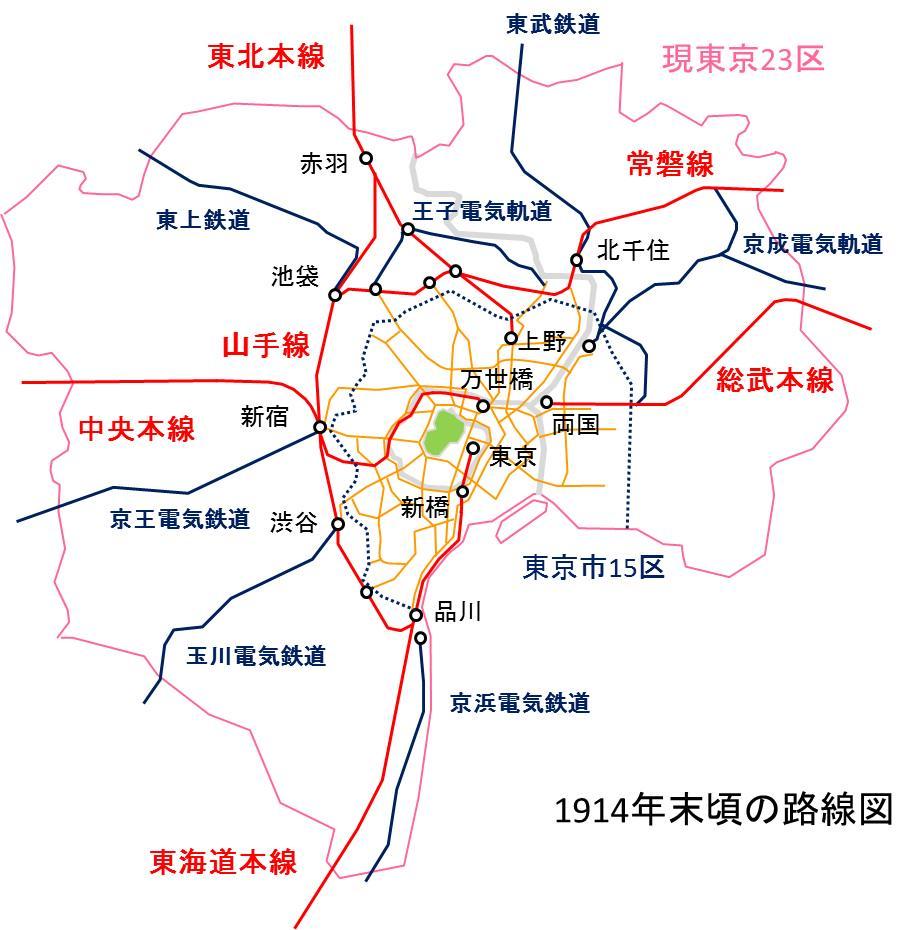 昔作った図を発掘。当時の鉄道計画を語るには、当時の地理感を考えてみましょう。今の東京とは随分違って見えるはずです。 http://t.co/8vW3Ea9rLw