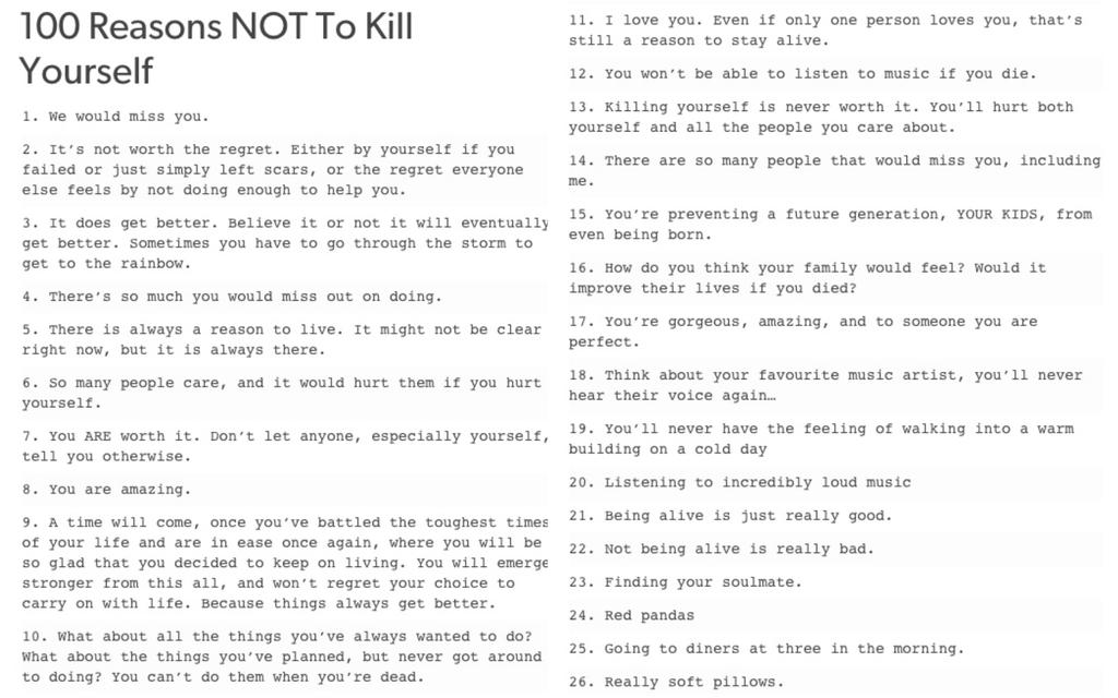 10 reasons why not to commit suicide