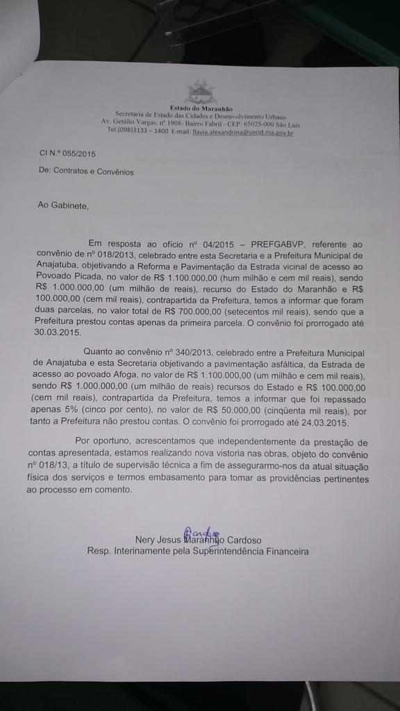 Veja aqui o relatório da Secid que confirma o repasse para a prefeitura de Anajatuba.