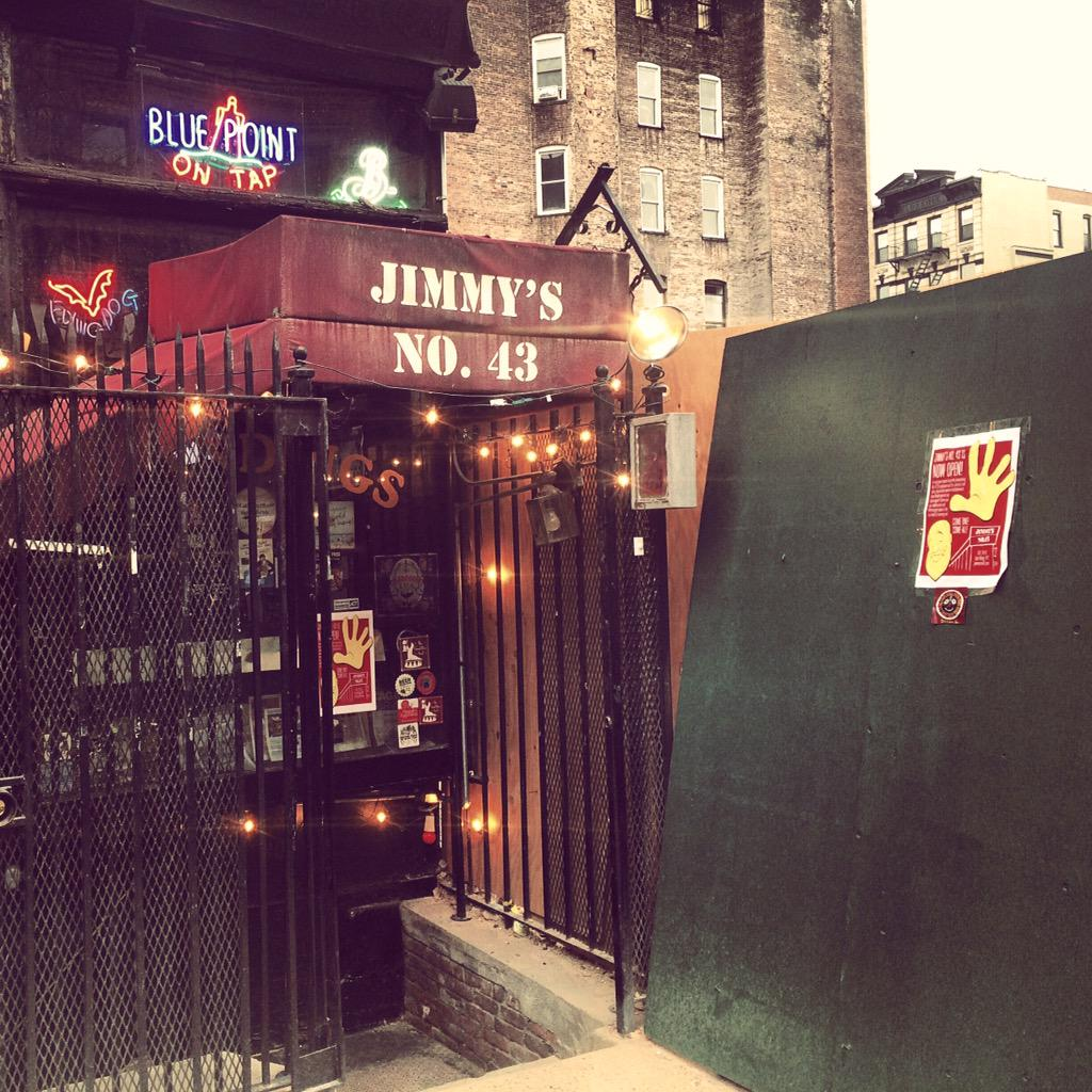 Thrilled to have @JimmysNo43 back open after the 2nd Ave blast. Perched at the end of the world. @jimmypotsandpan http://t.co/yO3ATPwerO