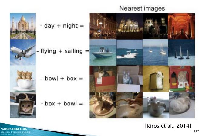 word2vec の言及なしか、と思ったら word2vec と image2vec の統合版が!。これは凄い!  Deep Learningの過去と未来〜黒魔術からの脱却へ向けて