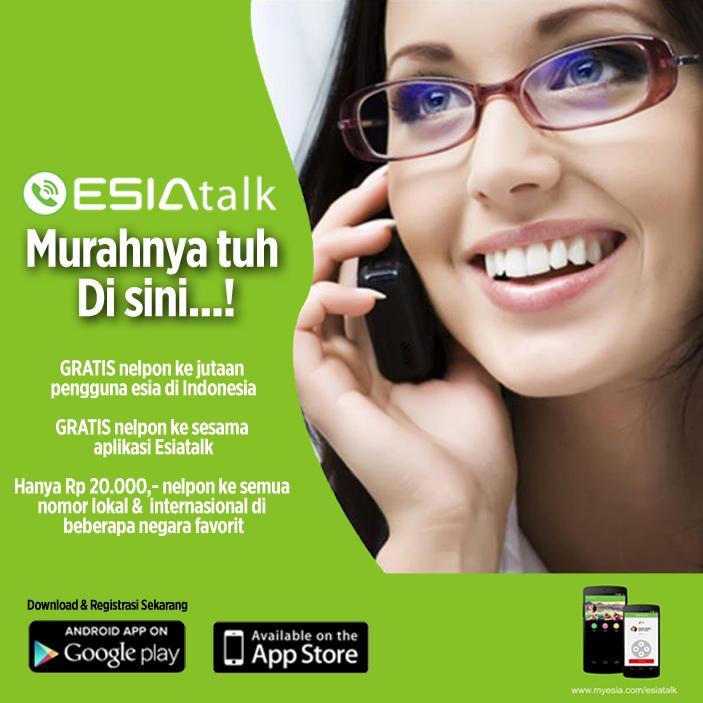 Nikmatin gratis telpon ke jutaan pn'gguna esia d Indonesia & hemat'a telpon k smua nomor dgn aplikasi ESIAtalk. http://t.co/xGefVR1R4x