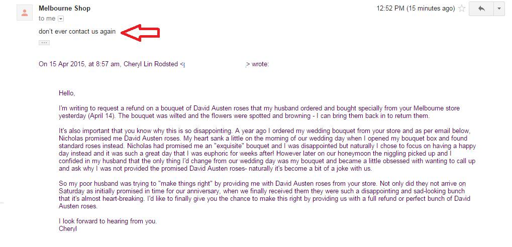 The full email between myself and Nicholas at #pollonflowers. Customer service, much? http://t.co/F11SuftOgS