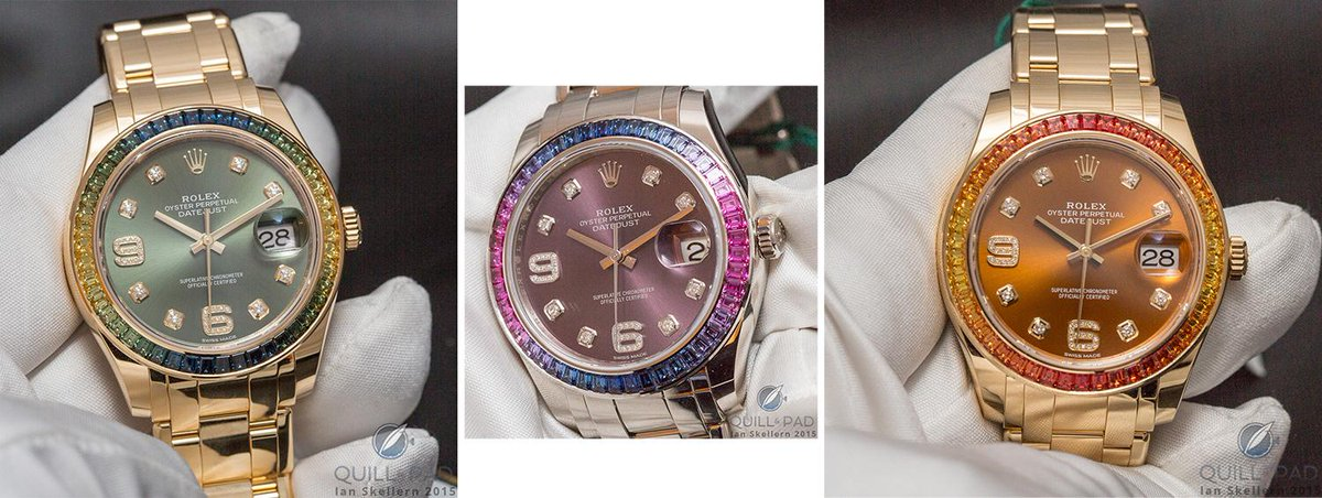 Radiant rainbow of Rolexes at @Baselworld. Click link for lots of live photos http://t.co/Nik1wqLx23 #rolex http://t.co/xAXDyU5YW1