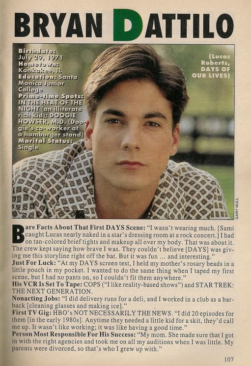 22 years ago today, @Bryan_Dattilo debuted as Lucas on @NBCDays. http://t.co/SKNV2XIaDS  #DAYS http://t.co/E2OPxJJ5gE