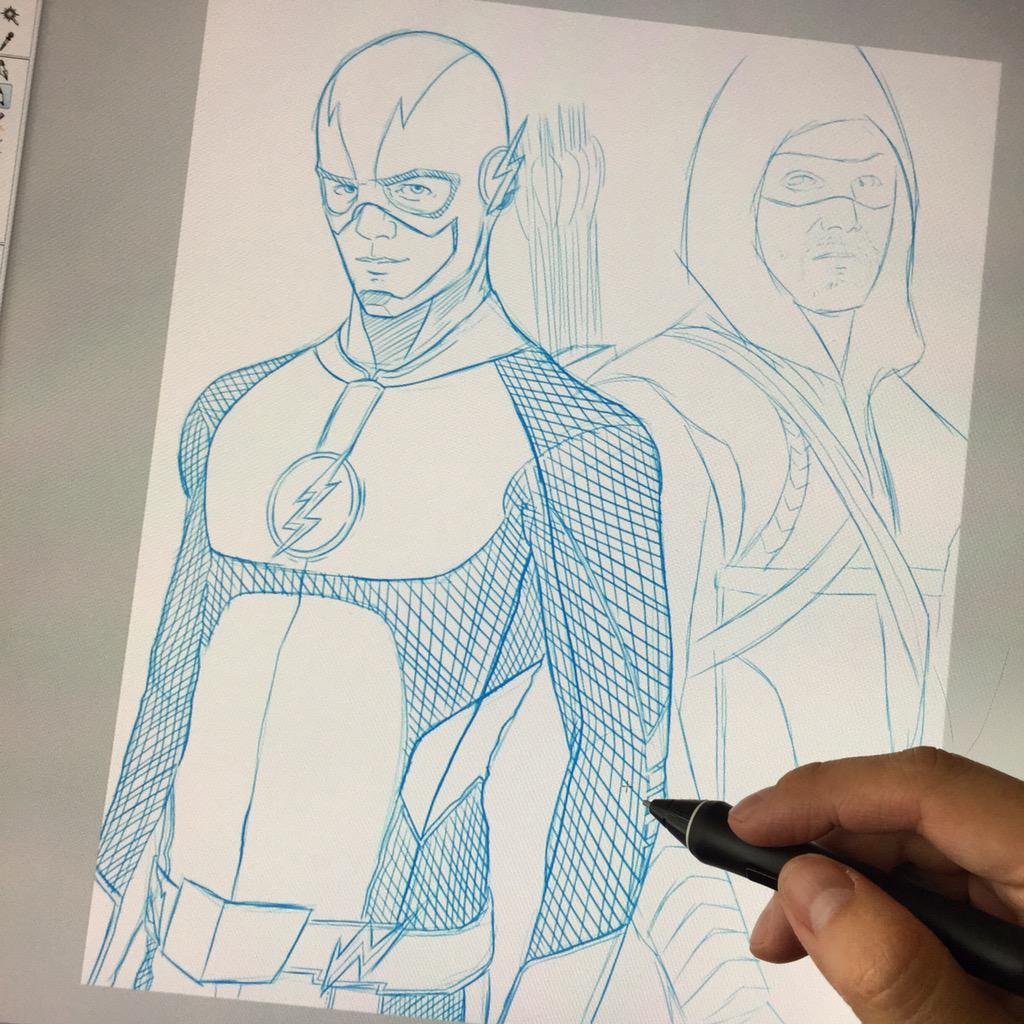Working on a @grantgust & @amellywood team up commission. Love the actual picture this is based on. #TheFlash #Arrow http://t.co/URbc8kgXbK