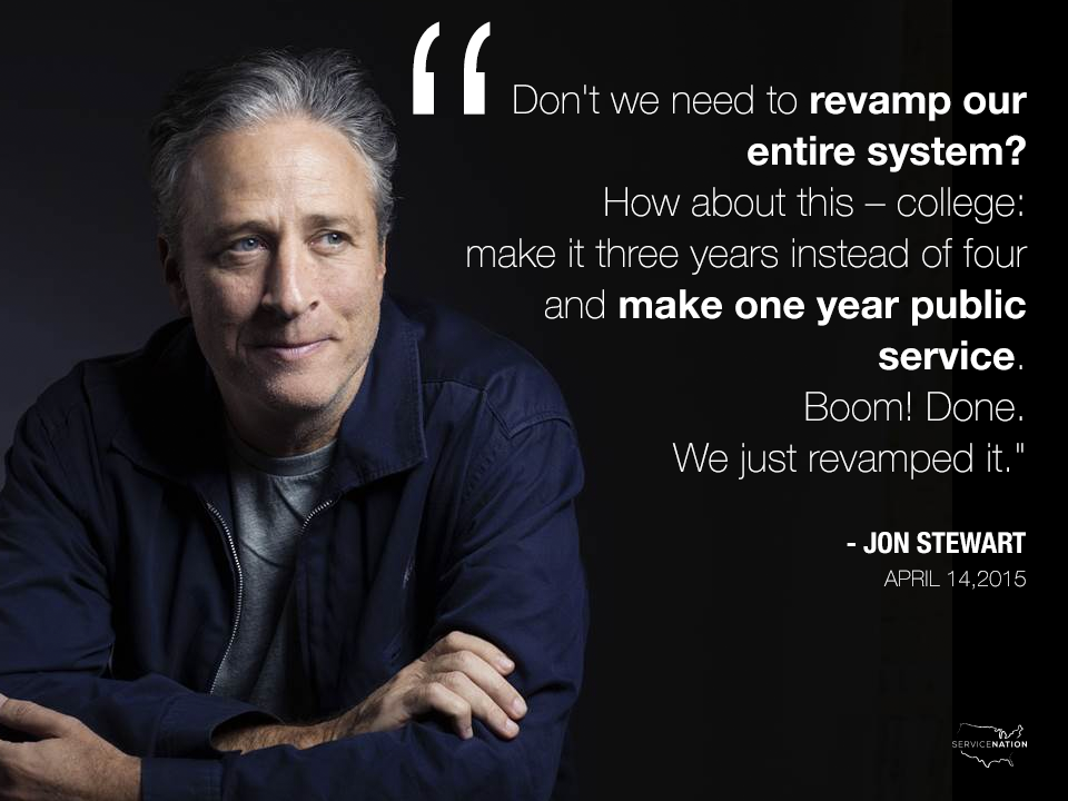 Did anyone catch @TheDailyShow last night & see #JonStewart's new proposal? He wants college for 3 then #serveAyear http://t.co/MZdmtG2oW8
