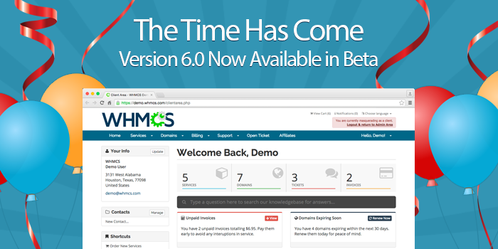Guess what?! Version 6.0 is Now Available in Beta! Get the details on our blog http://t.co/Qa4IRI18dy #WHMCSV6Rocks http://t.co/l7DfMhqXvF