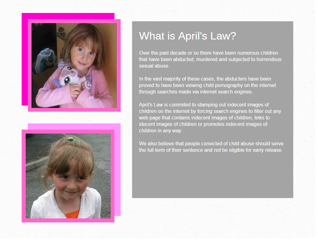 April's Law Official @AprilsLawUK #AprilJones #Stop indecent images of #Children on the Web! http://t.co/Z4BJJWyUe5