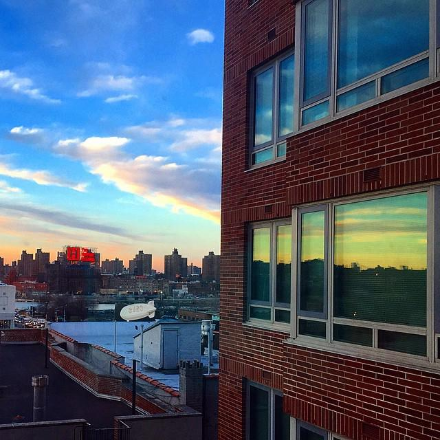 Reflections. Sunset. 70 degrees. #spring #harlem #nyc http://t.co/a5umtejdeJ http://t.co/IFiTasydve