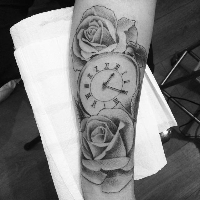 Sleep well tattoo on twitter black and grey time piece for Time piece tattoos