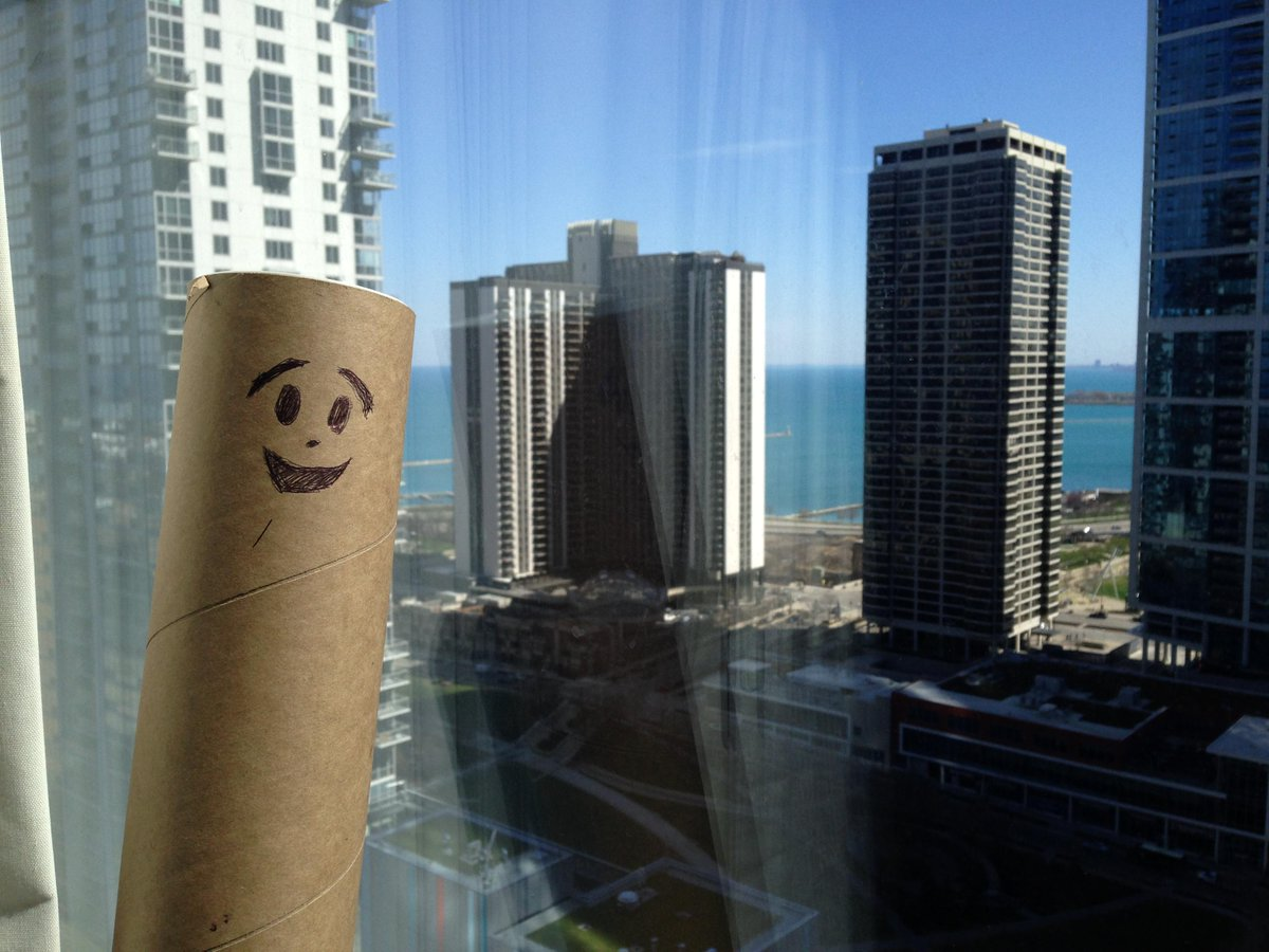 Ed-the poster tube-loves the Lake Michigan view. See him in action at #AERA15 http://t.co/V1BdTBMb0S @gardnercenter http://t.co/fEzAwK77iq