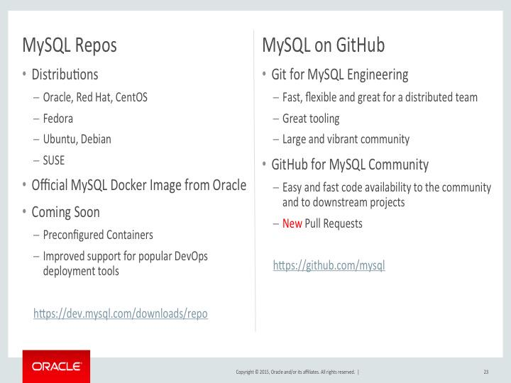 Replying to @morgo: Announced today in Tomas' keynote: MySQL team now accepting pull requests on GitHub. http://t.co/br73ReBRpZ