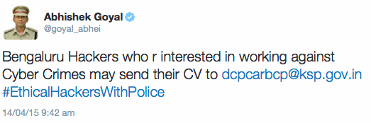 Another reason why I love bangalore! Awesome! #EthicalHackersWithPolice http://t.co/60za78jWI3