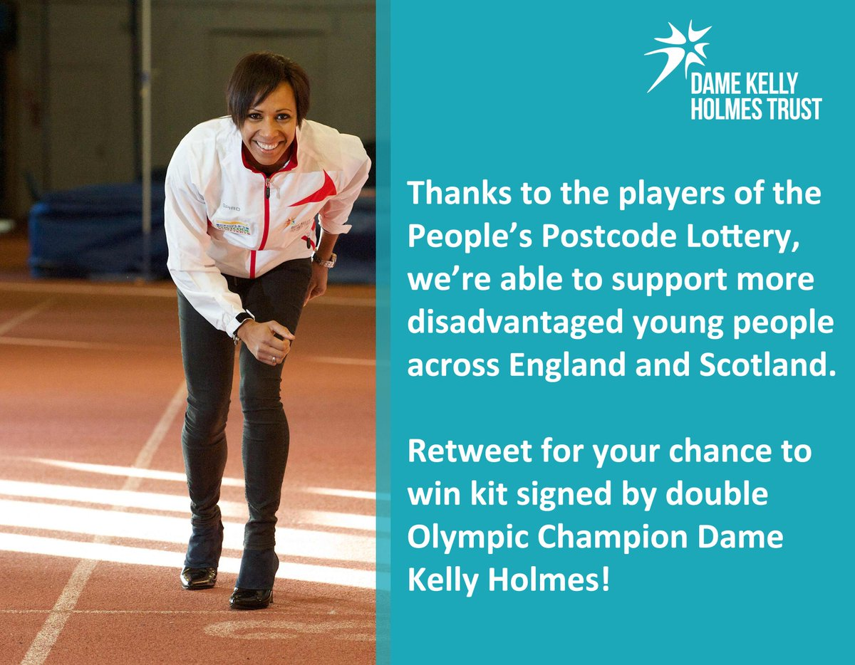 Win win win! RT to get your hands on kit signed by @damekellyholmes https://t.co/8NfUp4nKsi @PostcodeLottery http://t.co/bom2Rz1Byi