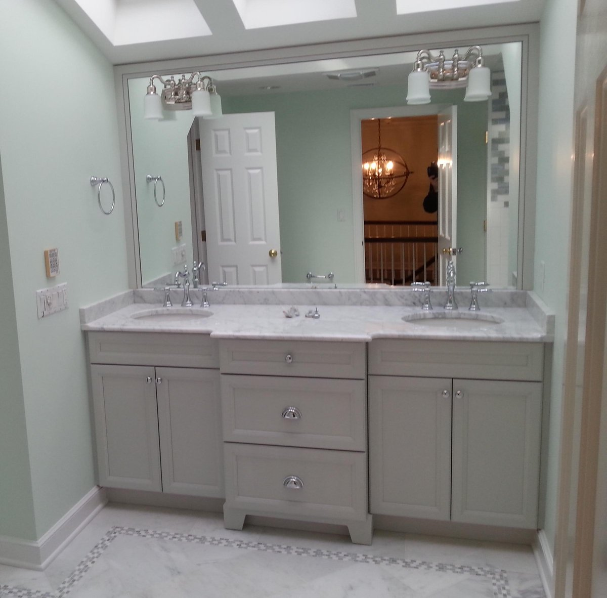 broadway kitchens on twitter completed white shaker bathroom kohler sinks and faucets topknobs hardware and ultracraft double sink vanity - Shaker Bathroom 2015