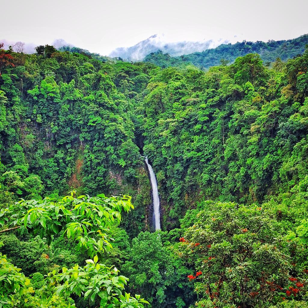 After a year seeing it on the @lonelyplanet #CentralAmerica guide, I arrived at #LaFortuna waterfall in #CostaRica. http://t.co/IyrHPqP1l5