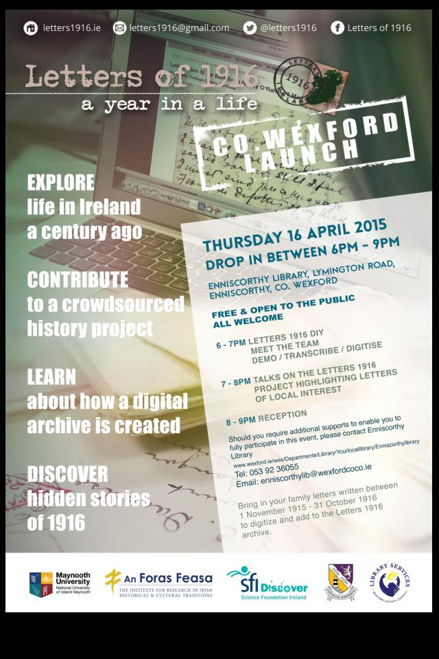 Enniscorthy library today Thur16 6-9pm Bring letters, volunteer http://t.co/cHifRELrwW An Foras Feasa & @wexfordcoco http://t.co/EOwyz5K8Er