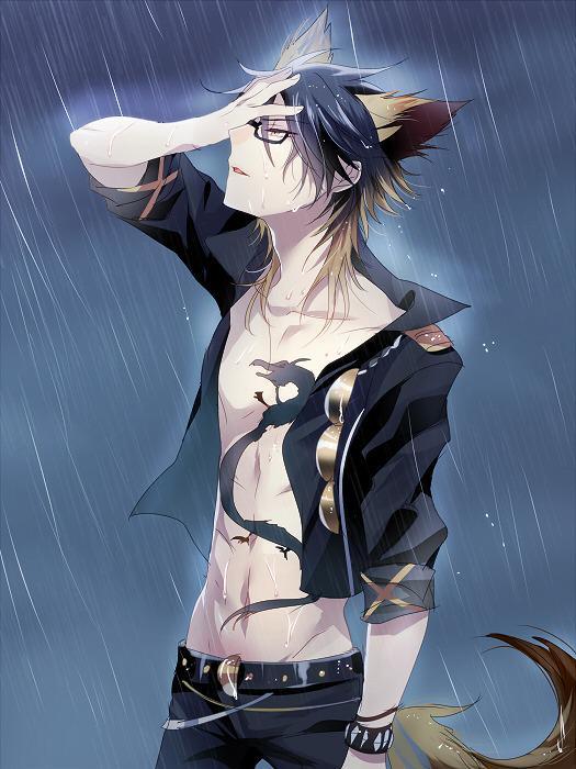 「我神の憂いし泪を全身で受けん、故に(以下略)」 雨に打たれるごっこしてるヤイバさん #SB69