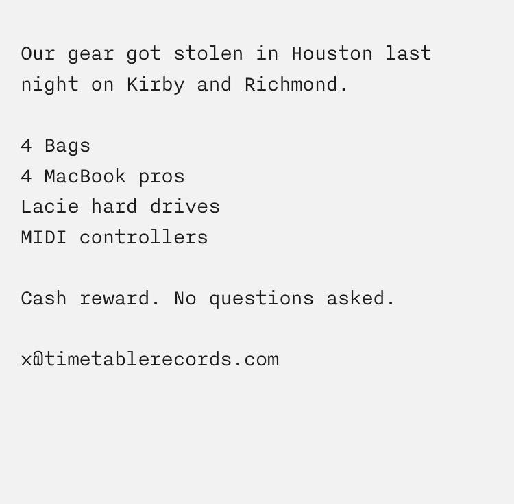 Stolen gear in Houston last night http://t.co/yHA9jeL0eA