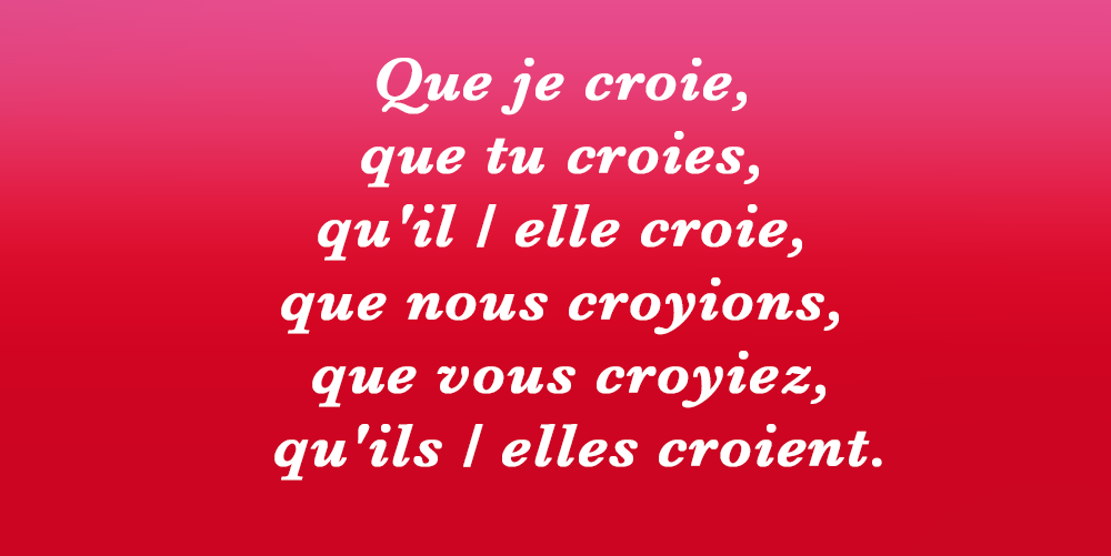 Bescherelle Officiel On Twitter Petitrappel Au Present Du Subjonctif Le Verbe Croire Ne Se Conjugue Jamais Croive Http T Co Hbfirc9z9t