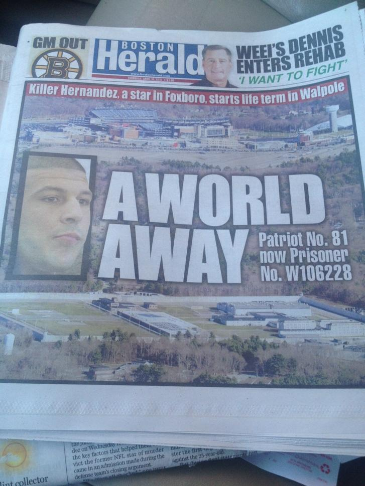 Powerful front page of @BostonHerald showing how close Aaron #Hernandez's prison in Walpole is to Gillette Stadium http://t.co/yojXAbsYz9