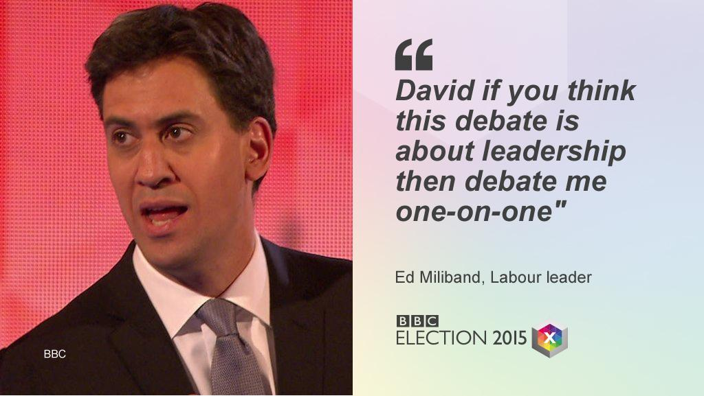 Ed Miliband's challenge to David Cameron as #BBCDebate ends http://bbc.co.uk/electionlive  #GE2015