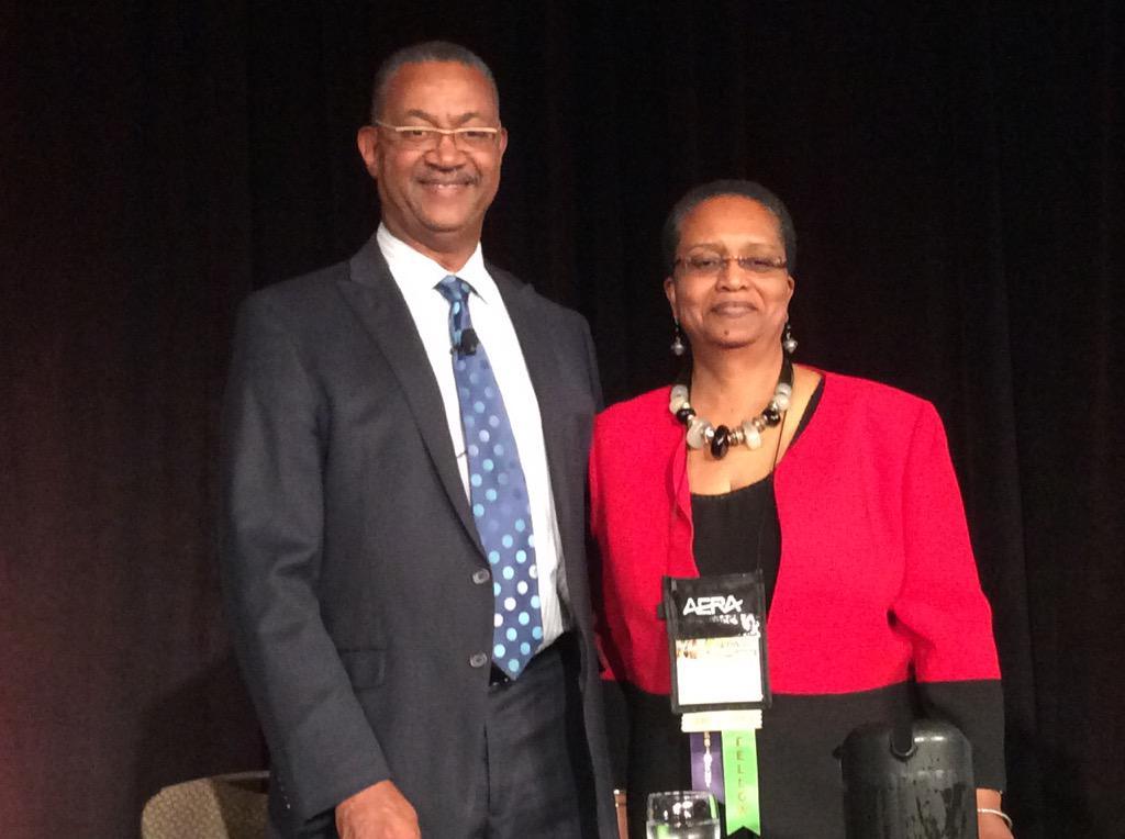 John W. Franklin and #AERAPres Joyce E. King at the #AERA15 Opening Plenary! Tweet with #AERAFranklin. http://t.co/SuKFKUCZaI
