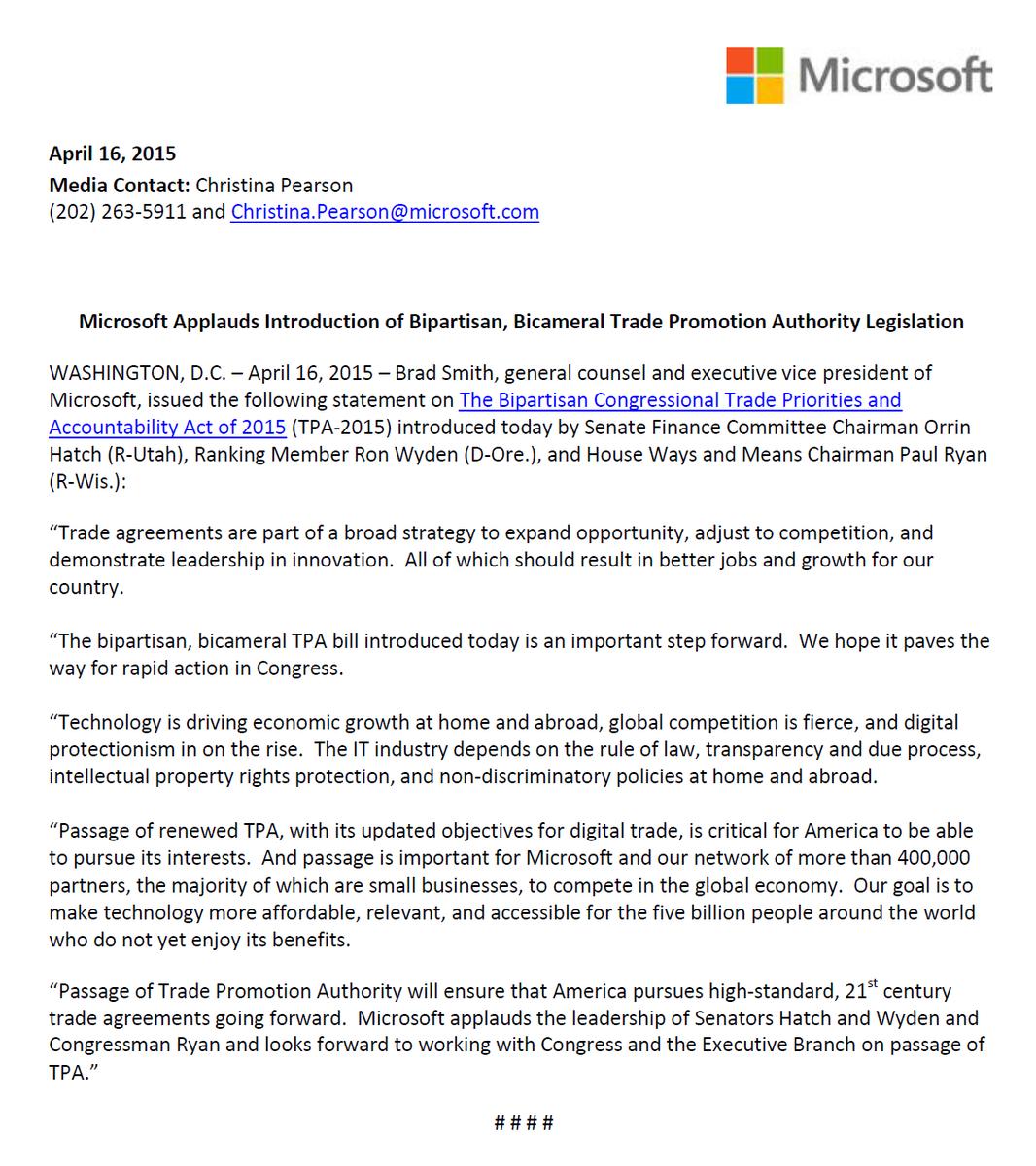 Microsoft Dc On Twitter Tpa Passage Will Ensure That America