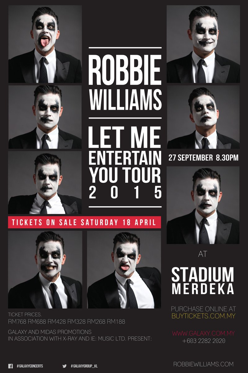 1st time in KL, @robbiewilliams Let Me Entertain You Tour 2015. Exclusive ticket launch this weekend at fahrenheit88! http://t.co/DOuZG8ScMY