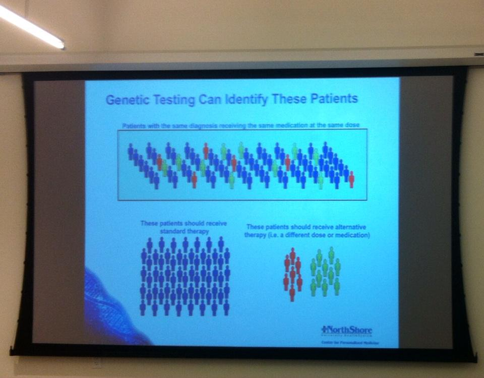 The basics of #pharmacogenomics, segmenting pts by genes & diagnoses @northshoreweb @matterchicago #nsnextmed http://t.co/VmwOZ1DkVG