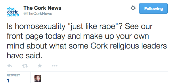 The Cork News deleted this tweet that they say we misinterpreted. This won't mean it goes wider at all. Oh no, no no. http://t.co/ckbFLLTukx