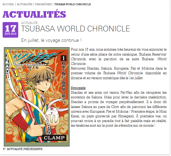 Tsubasa ~WoRLD CHRoNiCLE~ Nirai Kanai-hen // Tome 1 CCzsQoZWYAEMCqR
