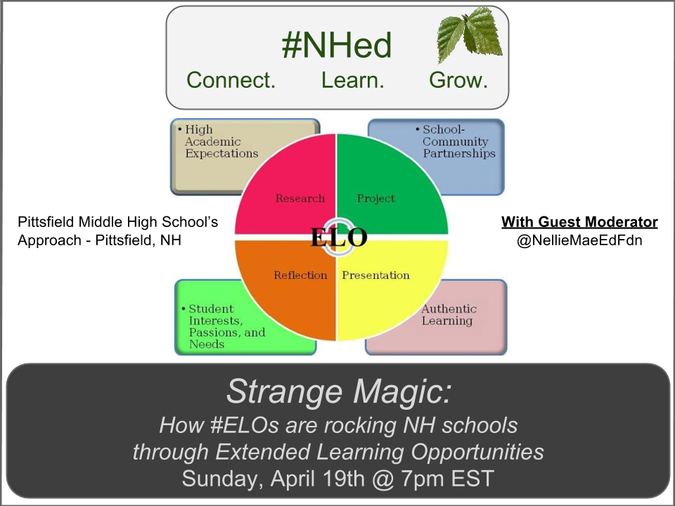 Join #NHed tonight for Strange Magic: The power & promise of #ELO, Extended Learning Opportunity, w/ @NellieMaeEdFdn http://t.co/CXx2qs2Ws0