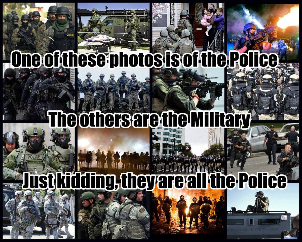 One of these photos is of the police, the others are the military... #Baltimore #Ferguson #Boston #NewYork http://t.co/s0RZeenvJr