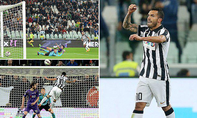 I due gol di Carlitos Tevez in Juventus-Fiorentina