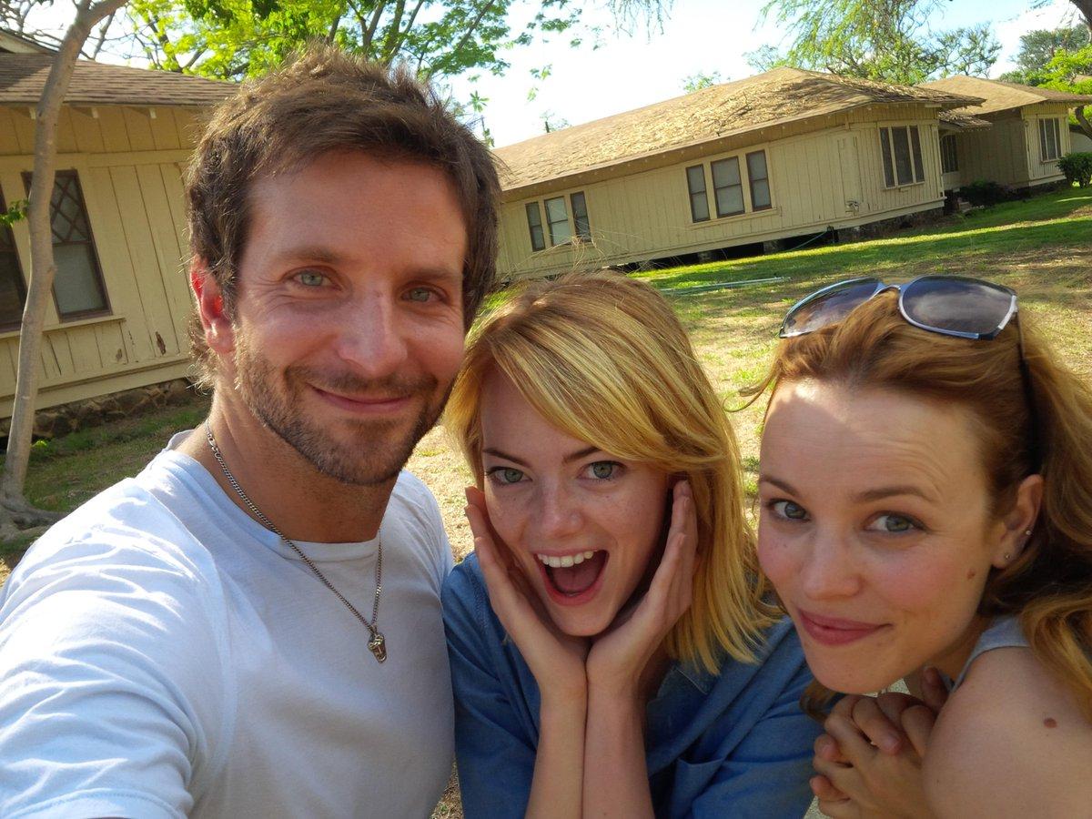 "When it began. First ""Aloha"" rehearsals. Bradley Cooper, Emma Stone and Rachel McAdams!  Honolulu, Hawaii. (BC Photo) http://t.co/d7pEuiFlgl"