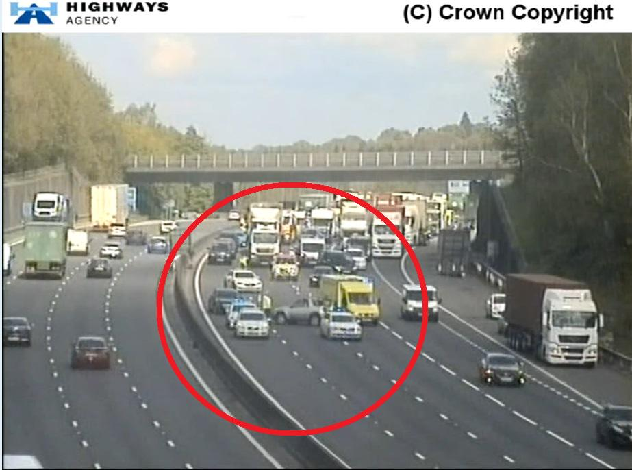 #M27 Westbound - Lanes 2, 3 and 4 BLOCKED between #Rownhams Services and J3/#M271 #Nursling due to RTI, delays. http://t.co/I2GMFanG9b