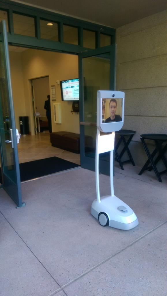 Attending #FutureLaw at Stanford. Nice to see the robotic disembodied attendees getting around http://t.co/4iZETqldSO