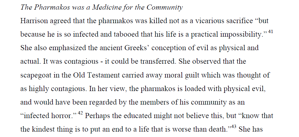 "Mulling on idea of Greece as a ""pharmakos"" or scapegoat, which by being sacrificed ""saves"" Europe. Grexit as a favour http://t.co/Yl6qGJ6t7t"