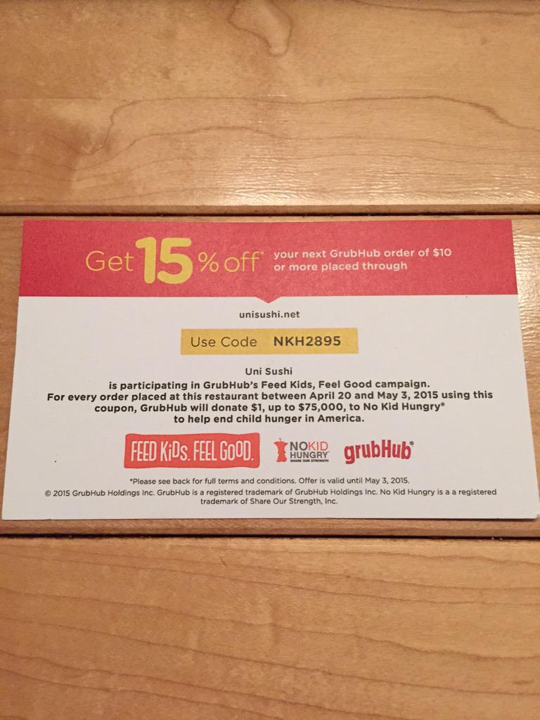 grubhub coupon code chicago