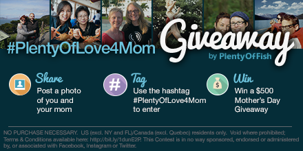 Want to win $500 for #MothersDay? Share a photo of U and your MOM using #PlentyOfLove4Mom. http://t.co/Oxw7buaiOr http://t.co/zb06X0jixu