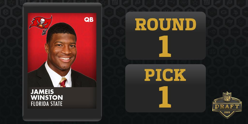 Round 1 - Pick 1  @TBBuccaneers select Jameis Winston, QB, Florida State #NFLDraft