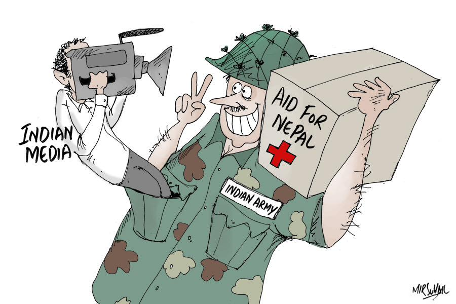 Indian earthquake relief is one thing, Indian (tv) media coverage of it quite something else. Cartoon by @mirsuhail http://t.co/YWZTwvZJa4