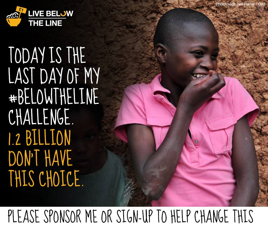 Day 5! Well done for making it this far. However, 1.2 billion people don't get to make that choice. RT if you agree. http://t.co/xFwbQNCbXm