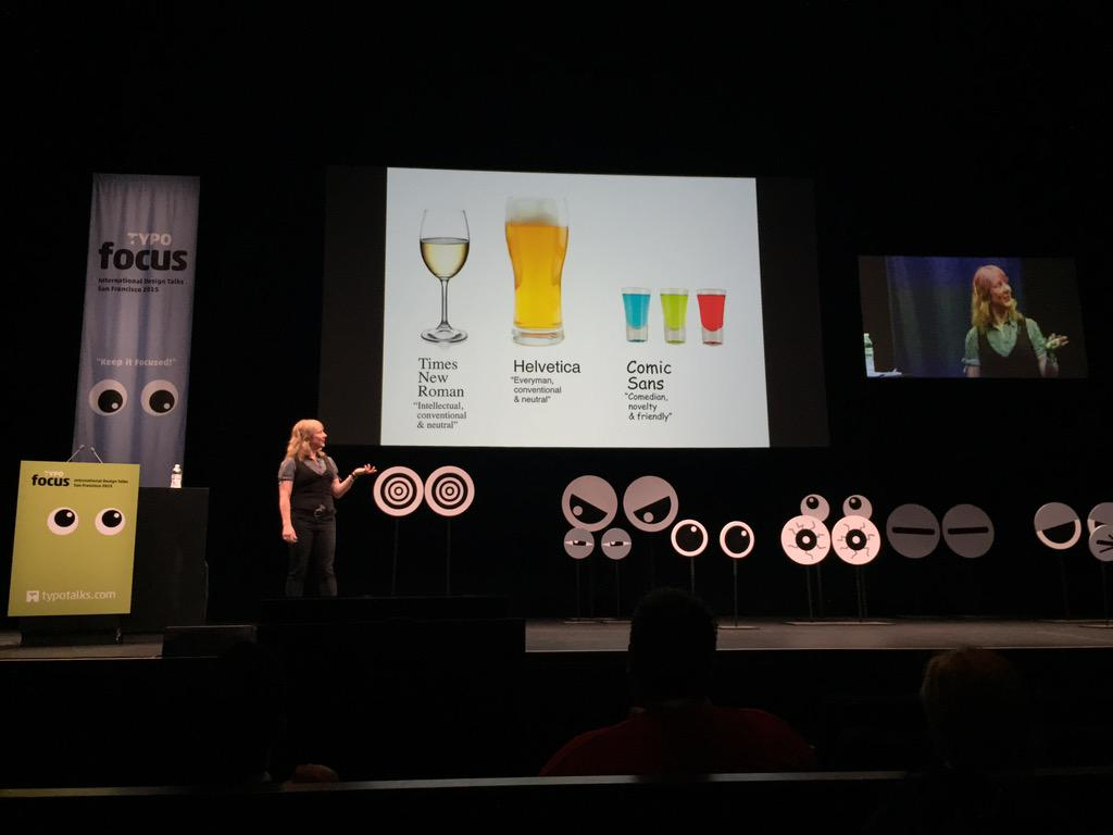 If Times New Roman, Helvetica, & Comic Sans walked into a bar, what would they drink? @sarahhyndman @TYPOSF #typo15 http://t.co/pB2kg3IJRL