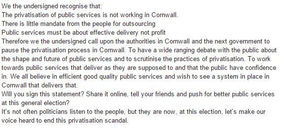 Privatisation is not working in Cornwall share this if you agree. http://t.co/gPaopQKUly