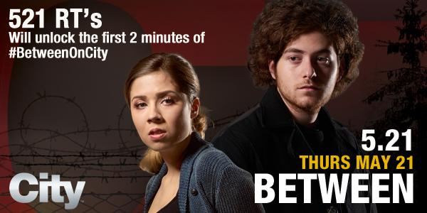 521 RT's will unlock the first 2 min sneak peek of @BetweenSeries premiere feat. @JennetteMcCurdy on @City_TV -GO! http://t.co/C6w4Wlf3WU