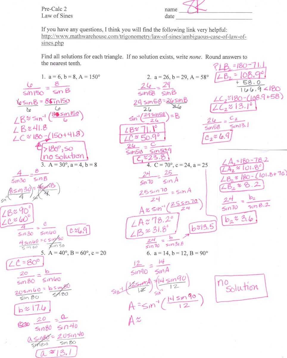 Sandy Kouns On Twitter 61 Law Of Sines Worksheet Answers Here Ya. Sandy Kouns On Twitter 61 Law Of Sines Worksheet Answers Here Ya Go Fb Tco6dnimito00. Worksheet. Law Of Sines Worksheet At Mspartners.co